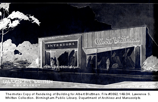 Thermofax Copy of Rendering of Building for Albert Bluttman. File #0892.149.04. Lawrence S. Whitten Collection. Birmingham Public Library. Department of Archives and Manuscripts.