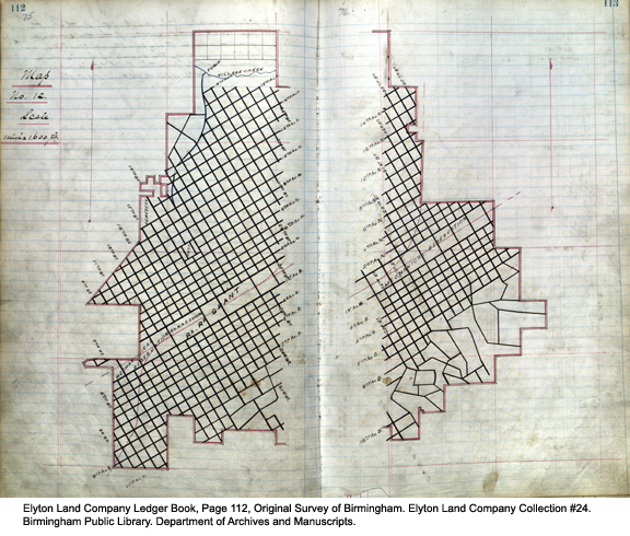 Elyton Land Company Ledger Book, Page 112, Original Survey of Birmingham. Elyton Land Company Collection #24. Birmingham Public Library. Department of Archives and Manuscripts.