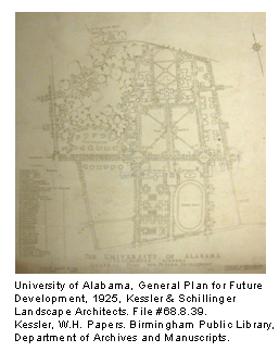 University of Alabama, General Plan for Future Development, 1925, Kessler & Schillinger Landscape Architects. File #68.8.39. Kessler, W.H. Papers. Birmingham Public Library, Department of Archives and Manuscripts.